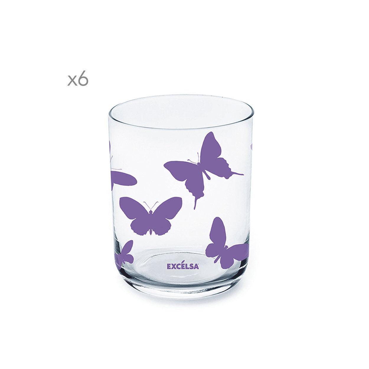 La tavola di primavera Set da 6 bicchieri Enjoy decoro farfalla, lilla