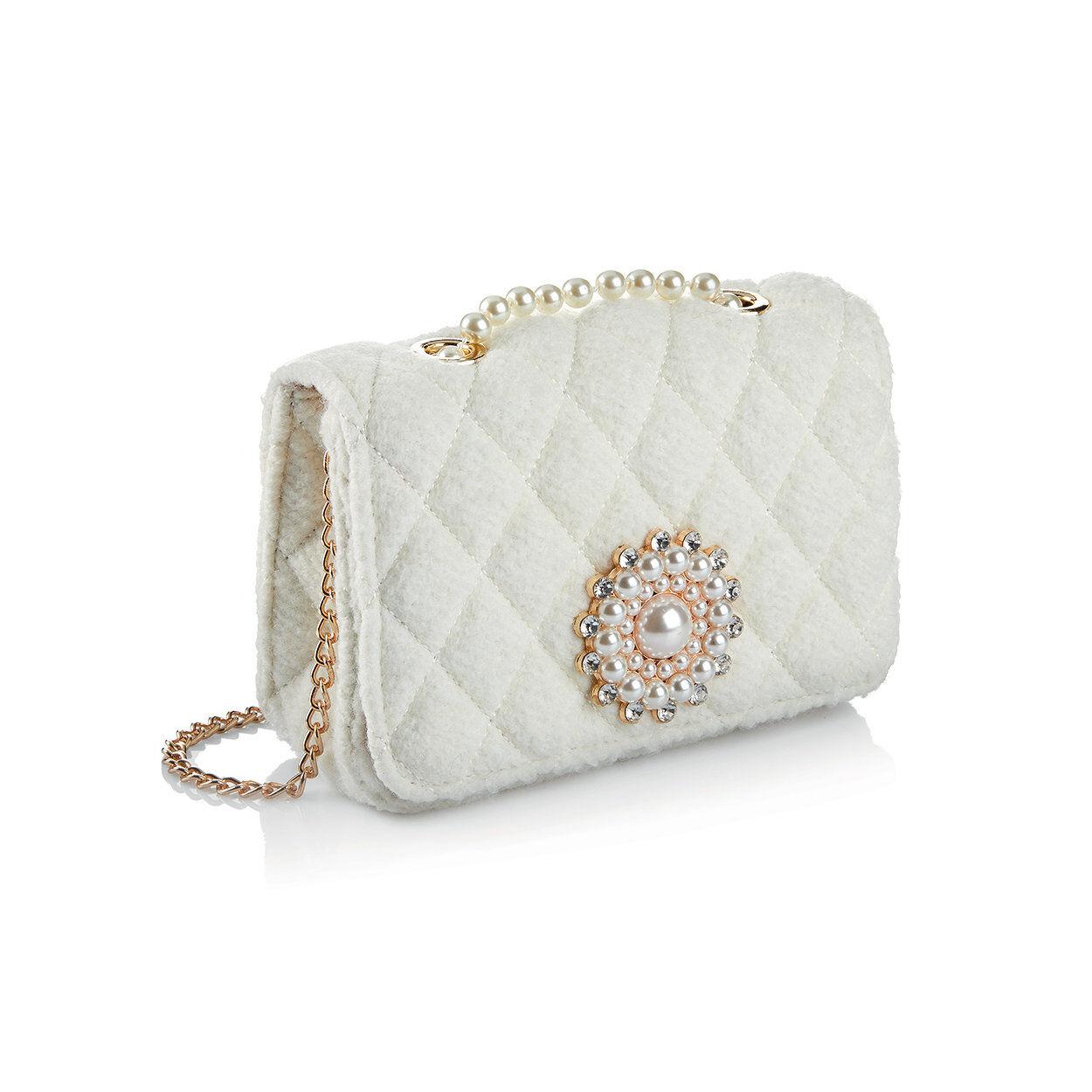 ottaviani borsa gioiello in tessuto con cristalli, perle e strass bianca