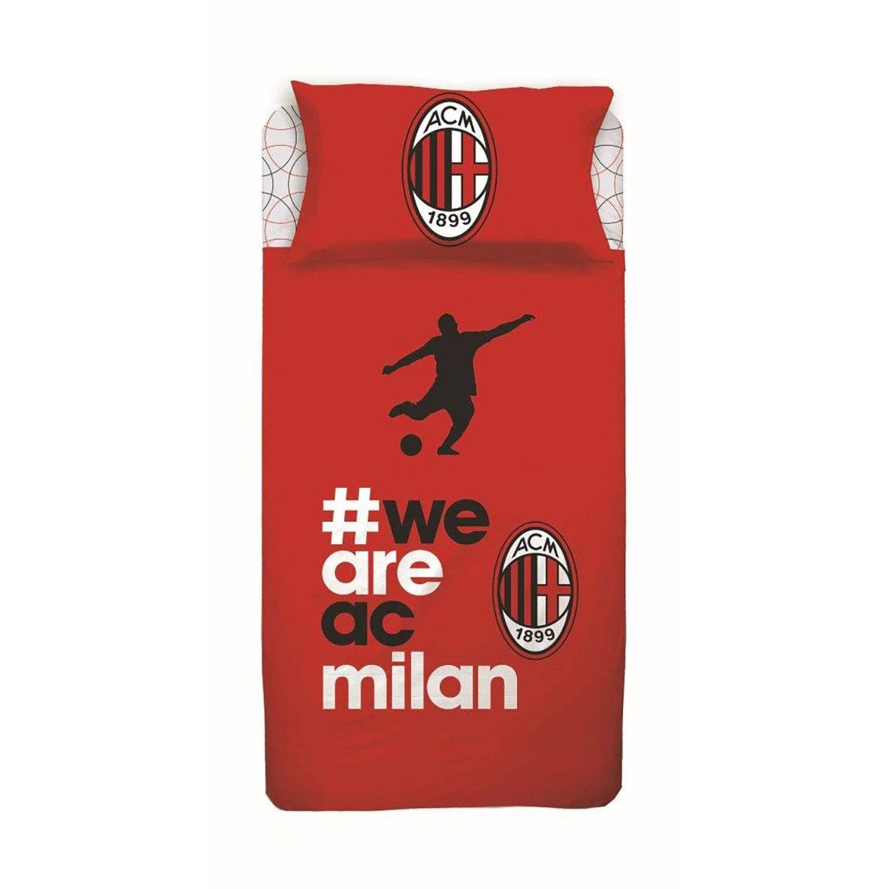 cameretta completo lenzuola we are ac milan, rosso
