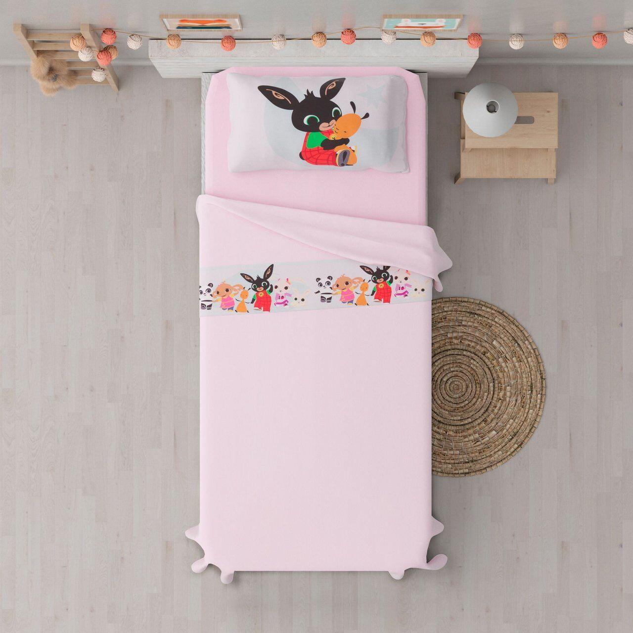 cameretta bing il coniglietto completo lenzuola rosa per lettino, rosa