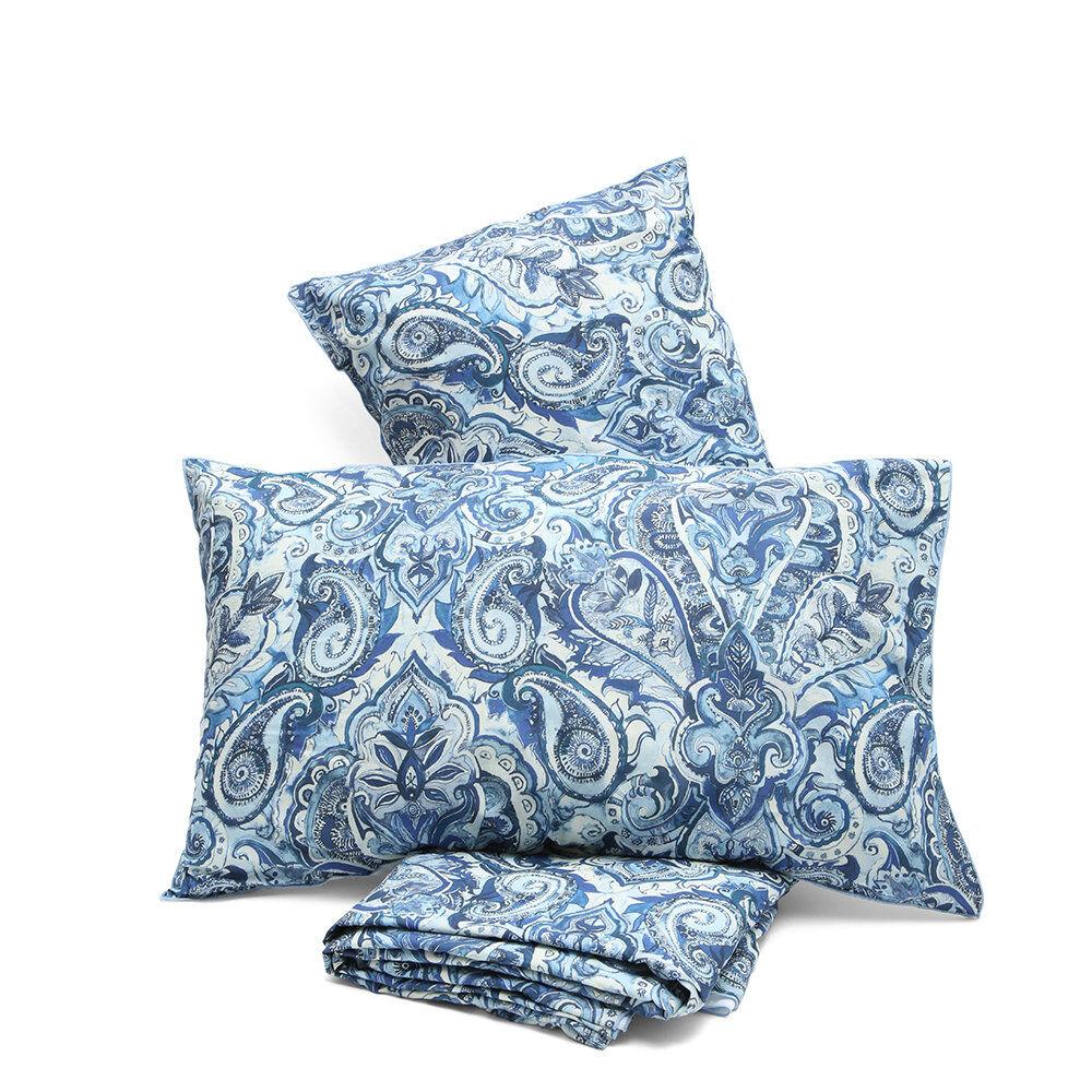 Stile Paisley Parure copripiumino singolo bifaccia TU bianco, zulema blu sp170101