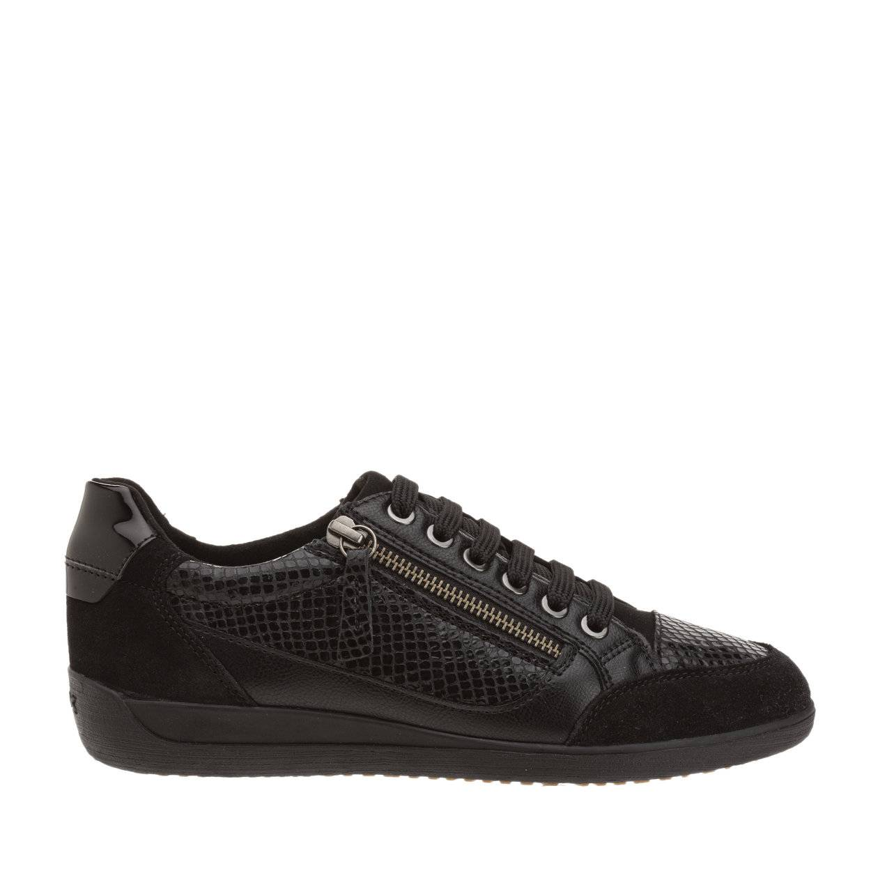 Geox Sneakers Myria in pelle stampata e suede nere