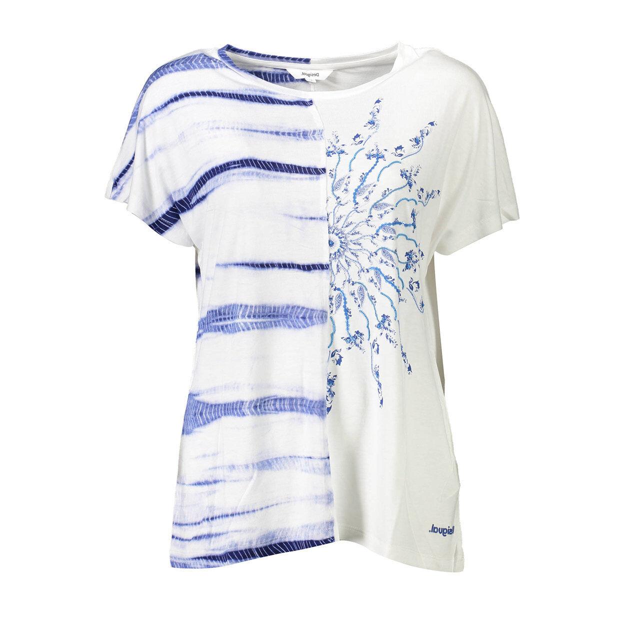 Desigual T-shirt bianca divisa da disegni aimmetrici