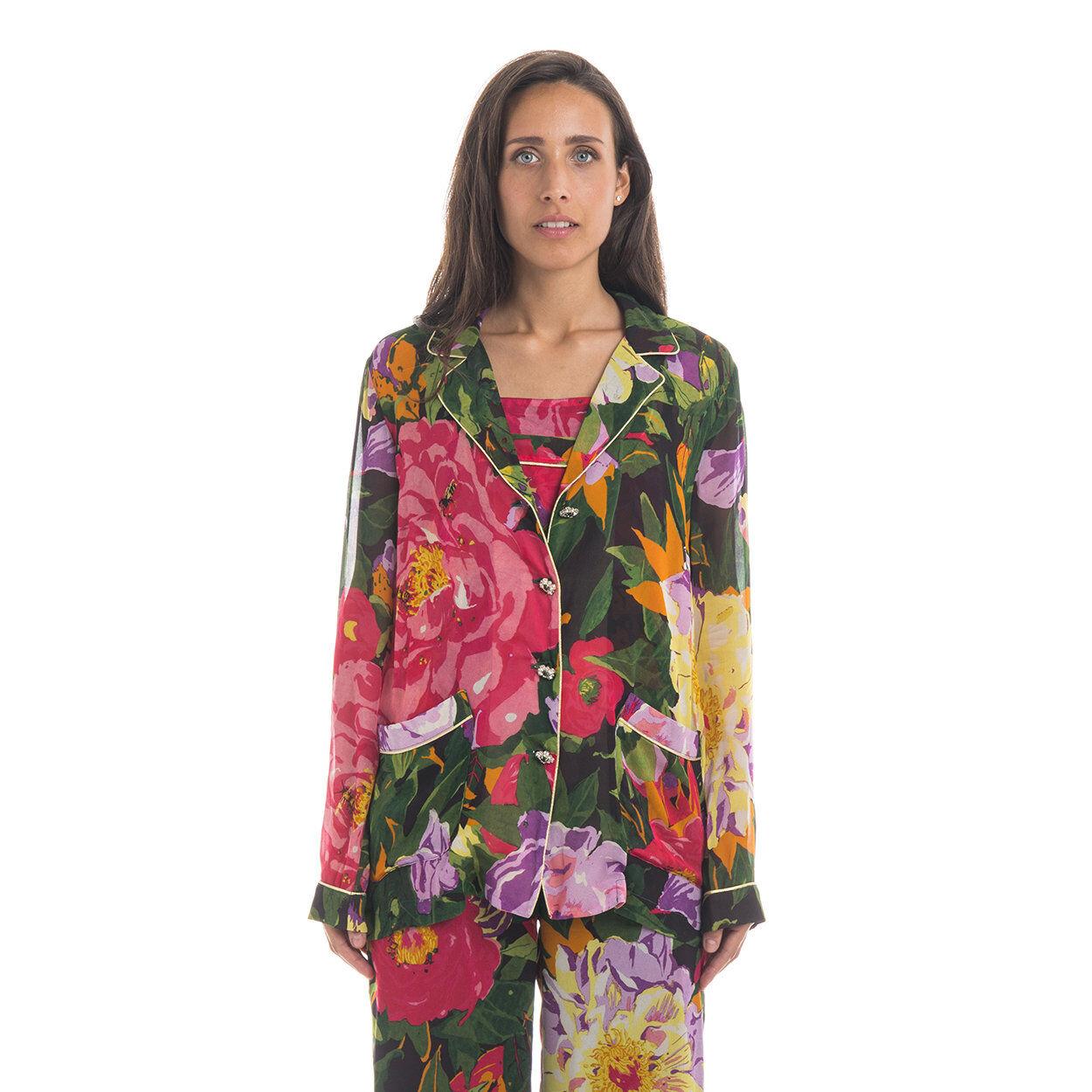 twinset giacca leggera in viscosa a fiori con bottoni gioiello
