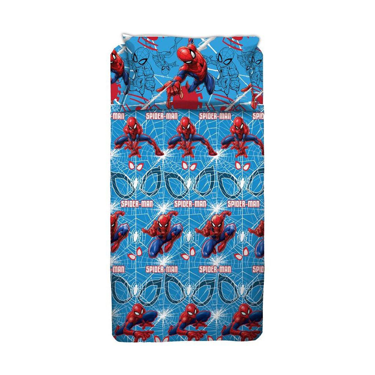 cameretta completo lenzuola blu letto piazza e mezzo spiderman, multicolore