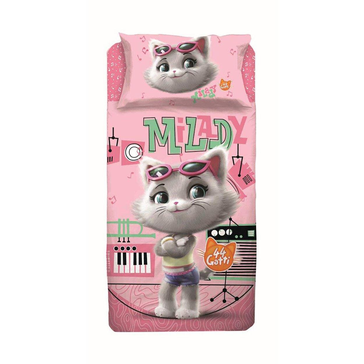 cameretta completo lenzuola milady 44 gatti letto singolo, multicolore