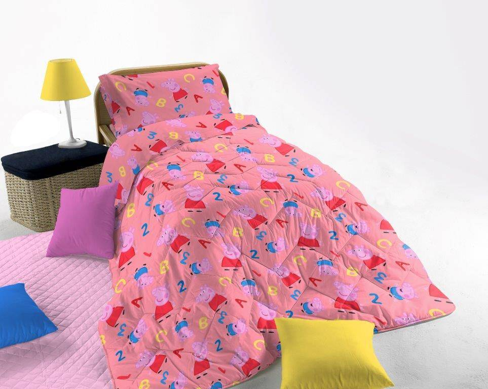 cameretta peppa pig trapunta invernale letto singolo rosa, fumetto