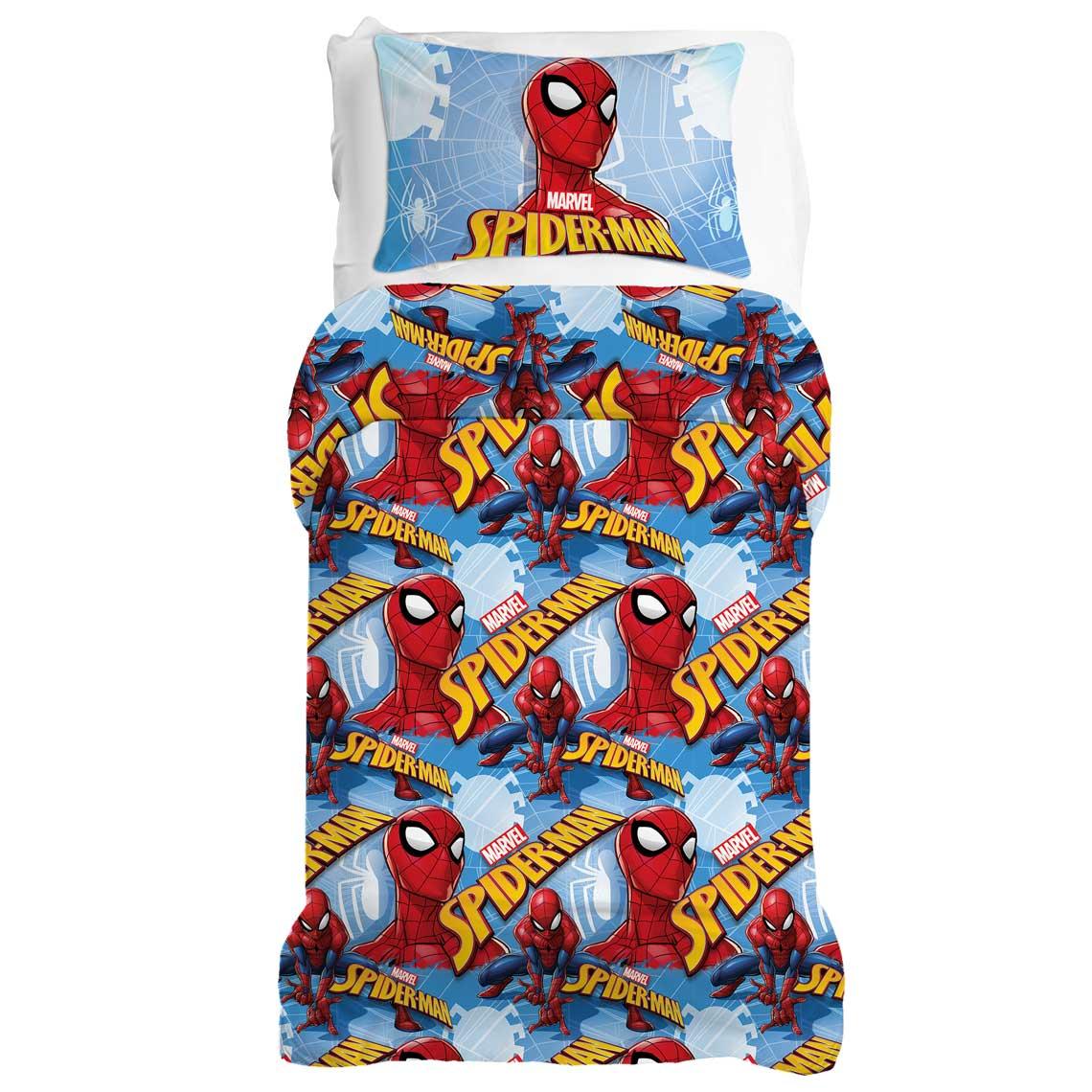cameretta completo lenzuola spiderman letto singolo, multicolore