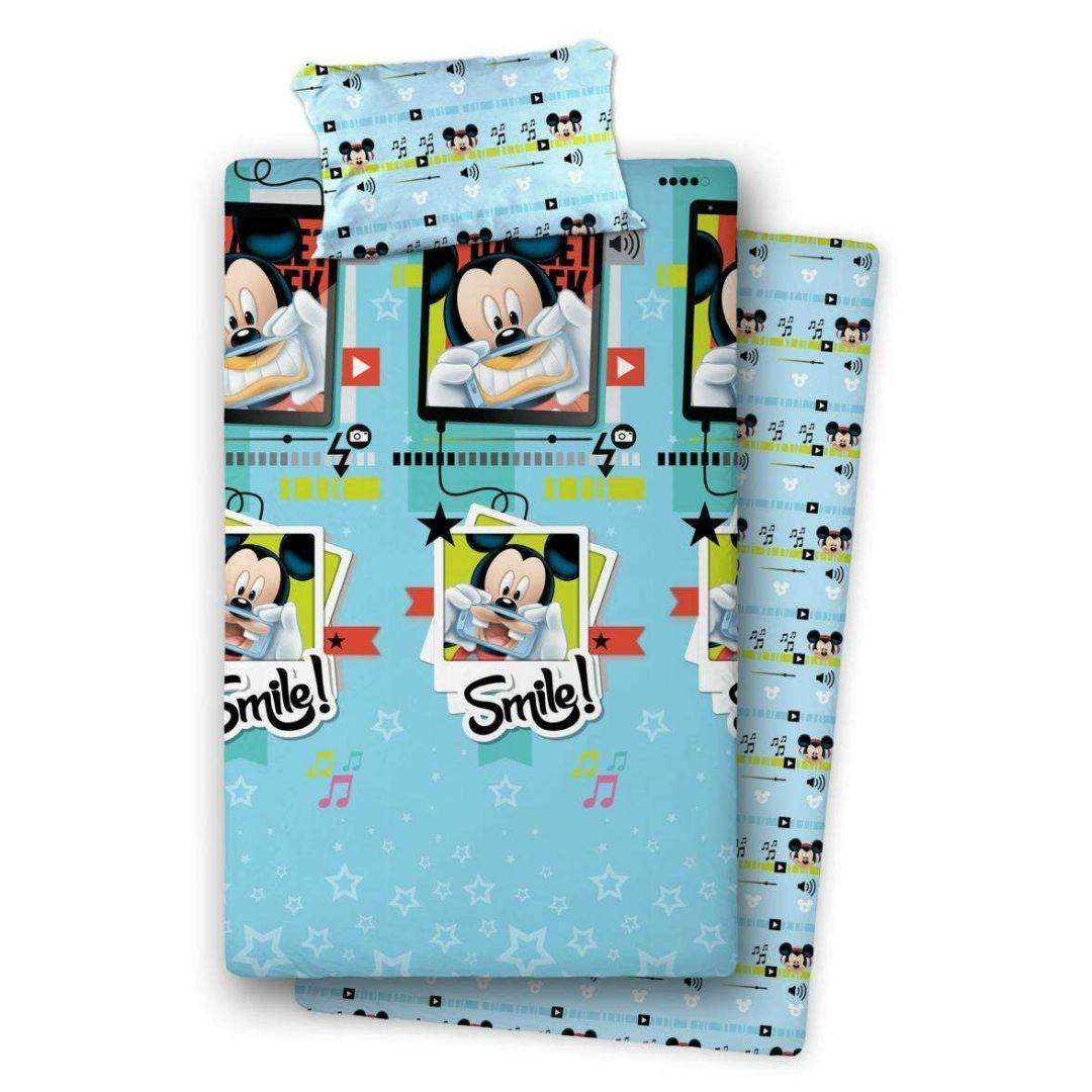 cameretta completo lenzuola mickey smile letto piazza e mezzo, azzurro