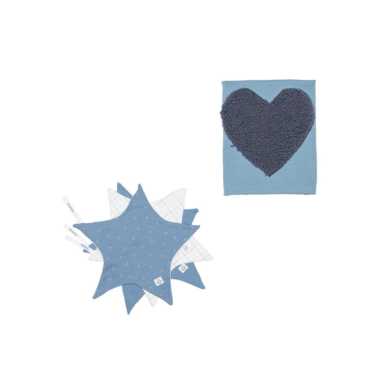 NINALUNA Set neonata con bavette e copertina colore blu avio