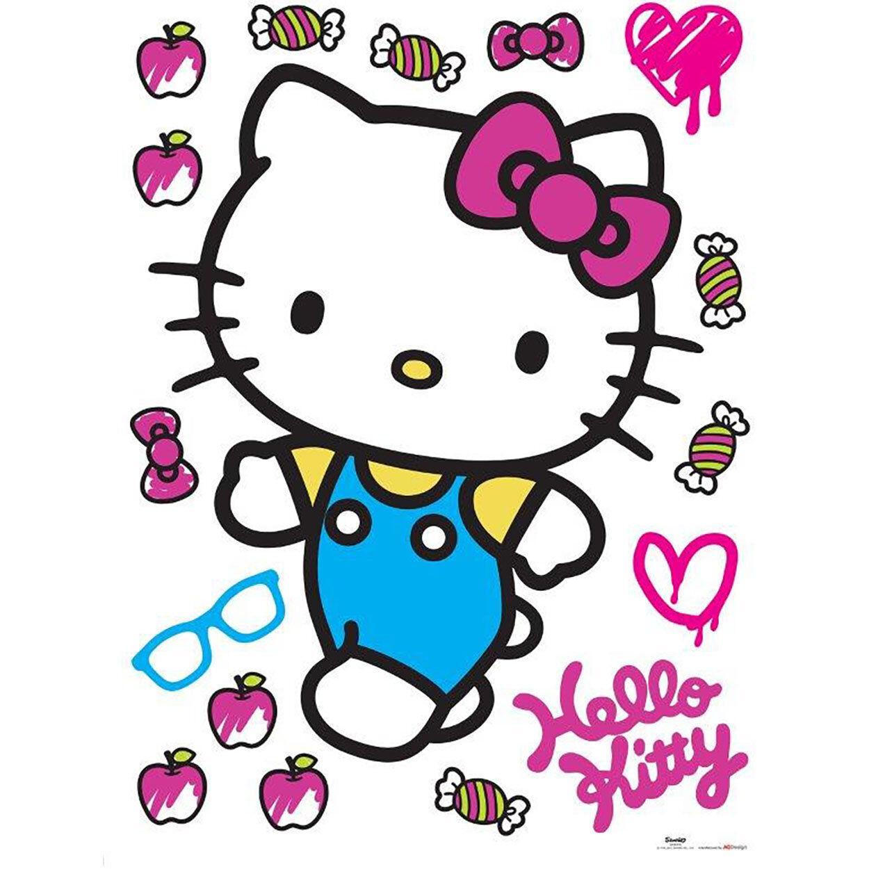 Cameretta Hello Kitty Decorazione Adesiva 65x85cm, multicolore