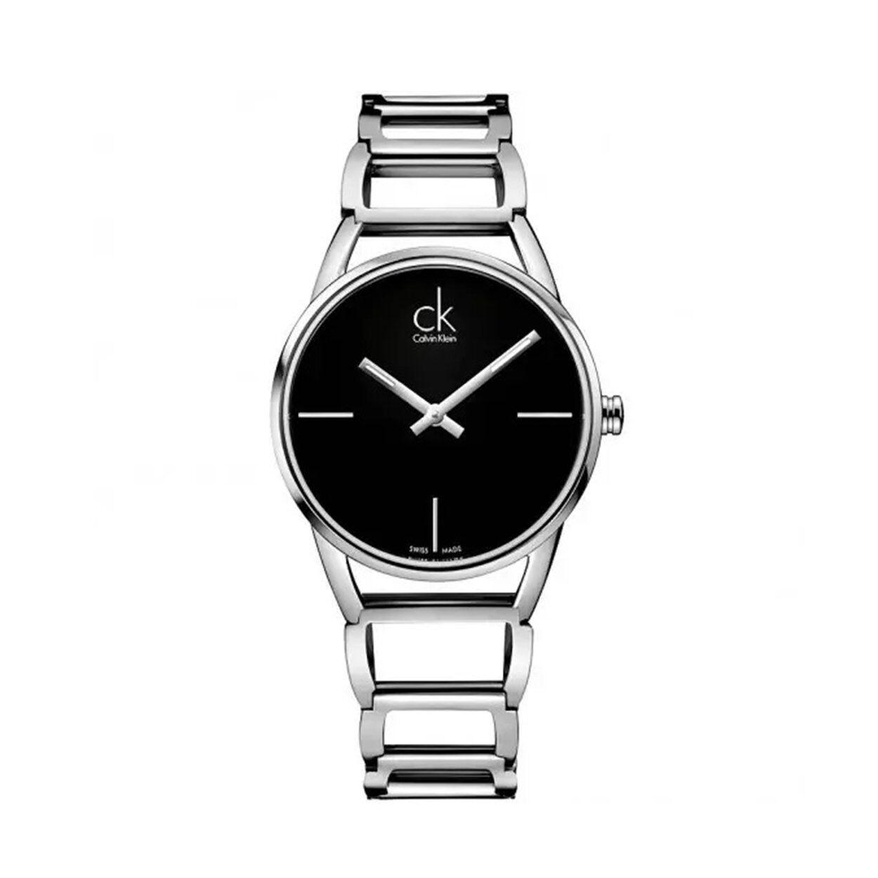 calvin klein orologio da polso donna calvin klein con cinturino in acciaio con quadrante nero