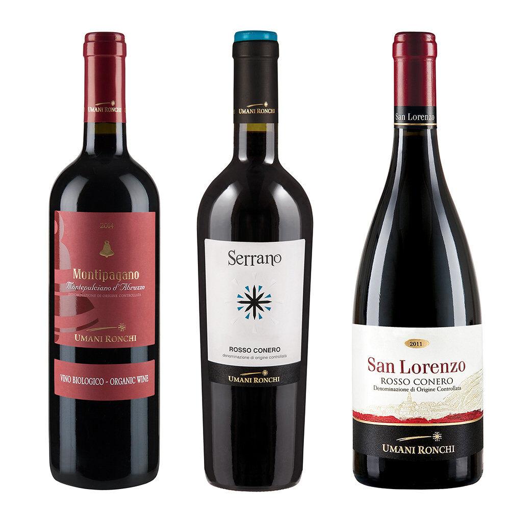 Umani Ronchi 3 bottiglie miste: Montipagano Montepulciano - Serrano - San Lorenzo