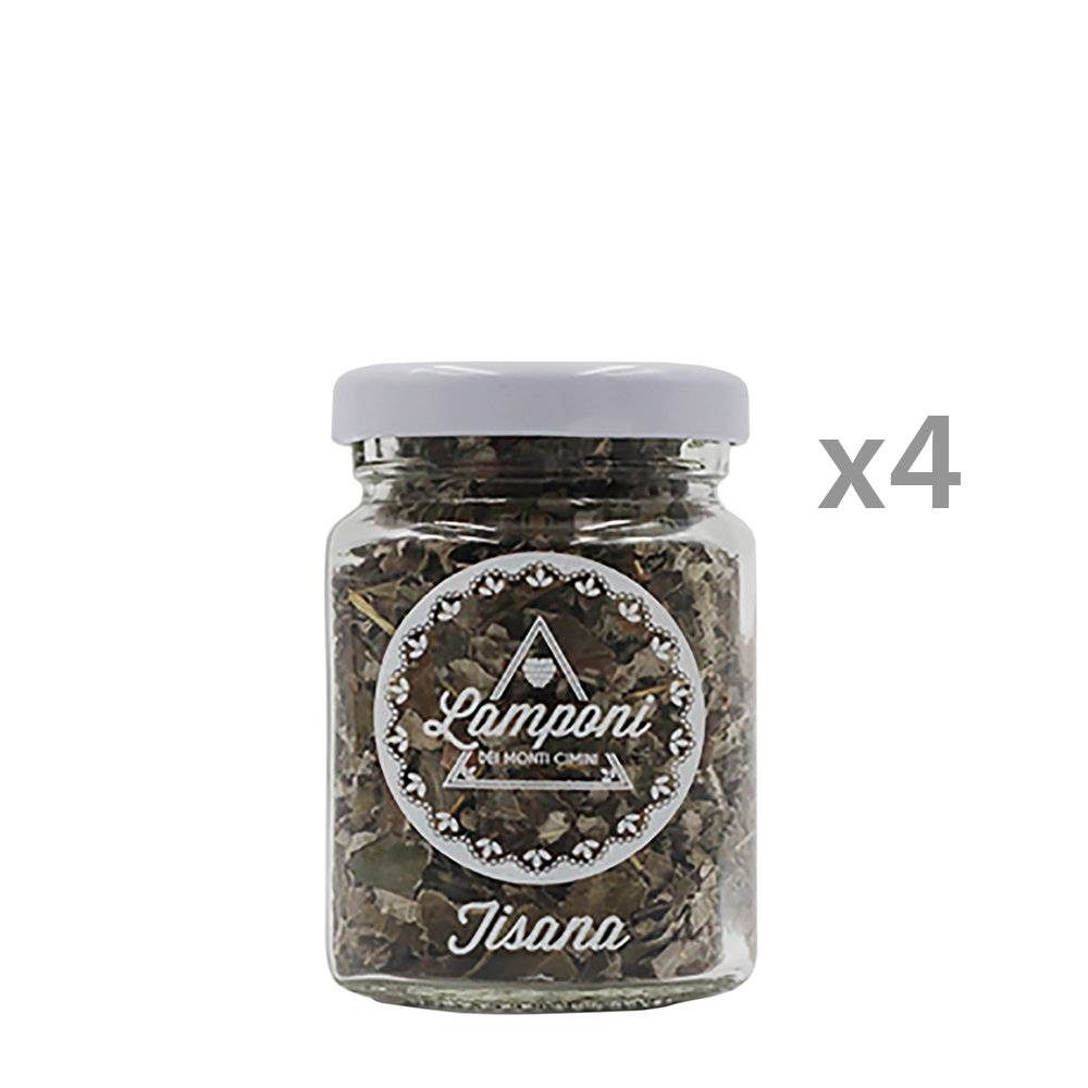 lamponi dei monti cimini 4 vasi - tisana di foglie di lampone 6 gr