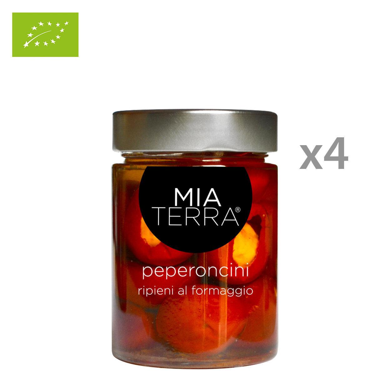 mia terra 4 vasetti - peperoncini ripieni di formaggio biologici in olio evo 314 ml