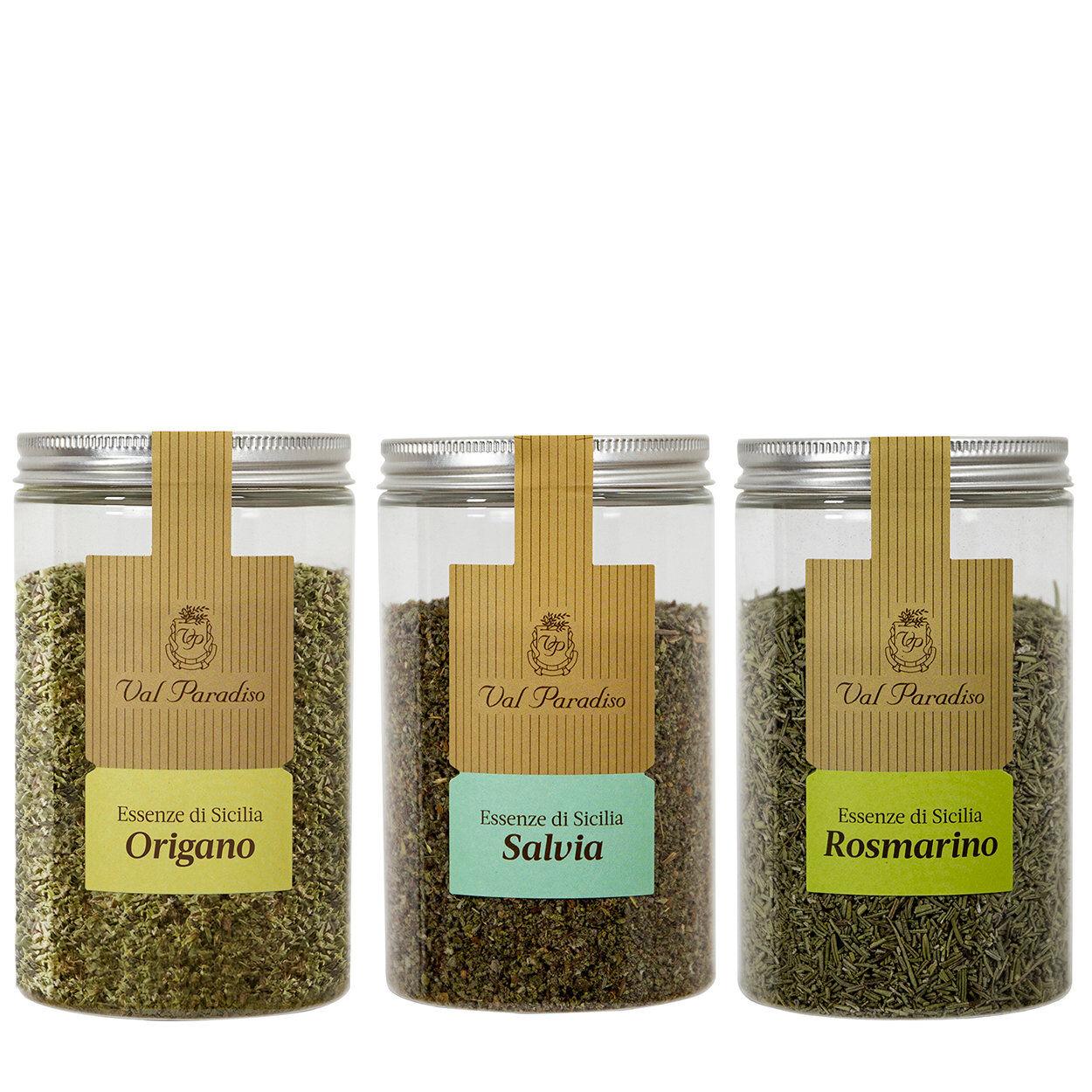 val paradiso 3 barattoli misti erbe aromatiche val paradiso: origano 50 gr - salvia 45 gr - rosmarino 95 gr