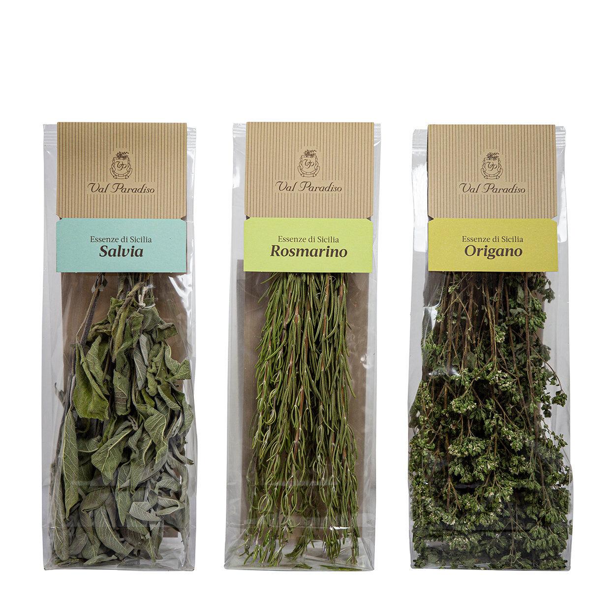 val paradiso 3 mazzetti misti 25 gr erbe aromatiche val paradiso: origano - salvia - rosmarino