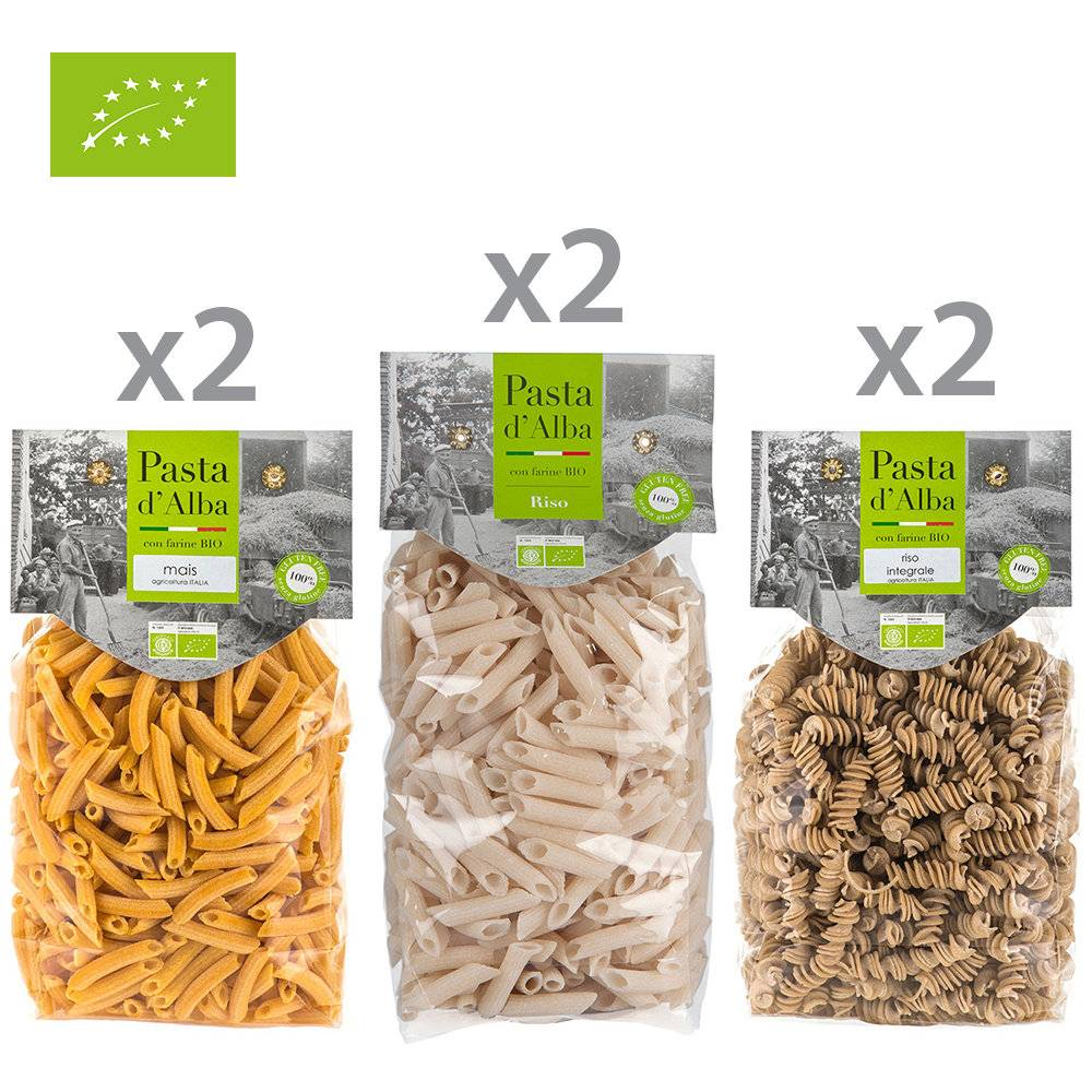 pasta d'alba 6 confezioni miste: 2 penne di mais bio senza glutine - 2 penne di riso bio senza glutine - 2 fusilli di riso integrale bio senza glutine