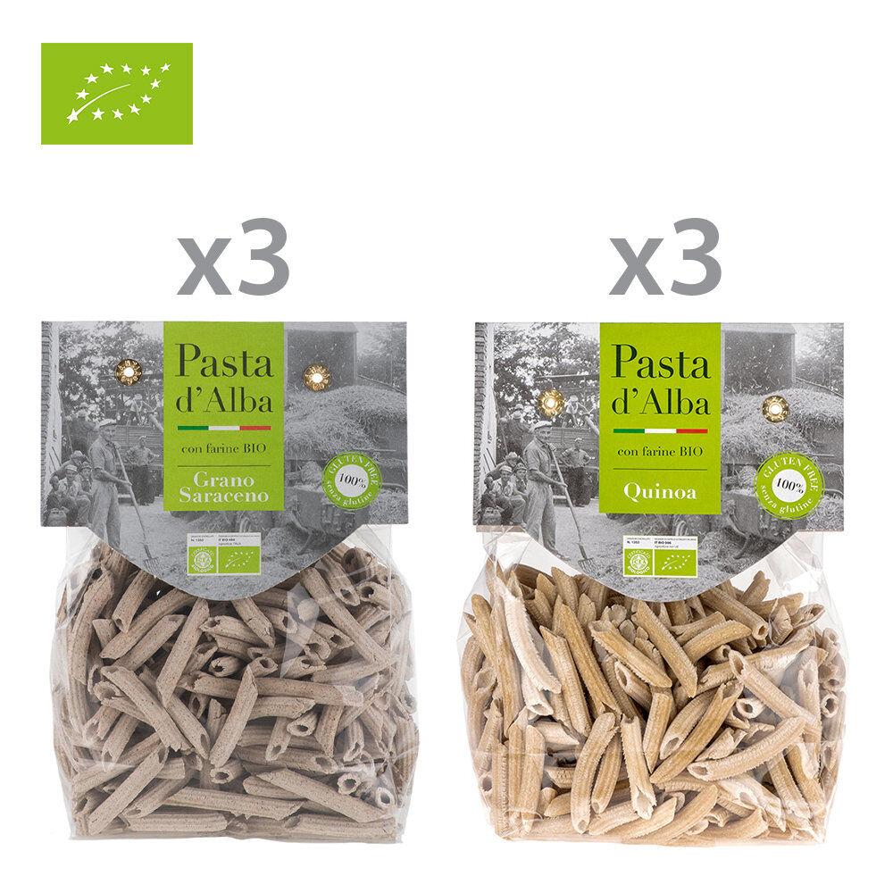 pasta d'alba 6 confezioni miste: 3 penne di grano saraceno bio senza glutine - 3 penne di quinoa integrale bio senza glutine