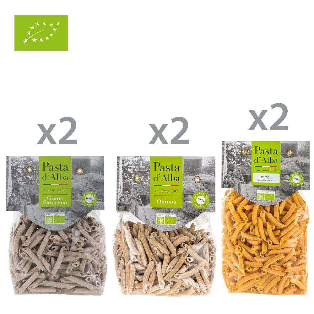 pasta d'alba 6 confezioni miste: 2 penne di grano saraceno bio senza glutine - 2 penne di quinoa integrale bio senza glutine - 2 penne di mais bio senza glutine