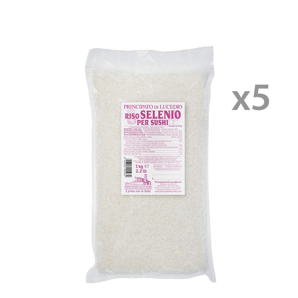 Principato di Lucedio 5 confezioni - Riso Selenio per Sushi 1 kg