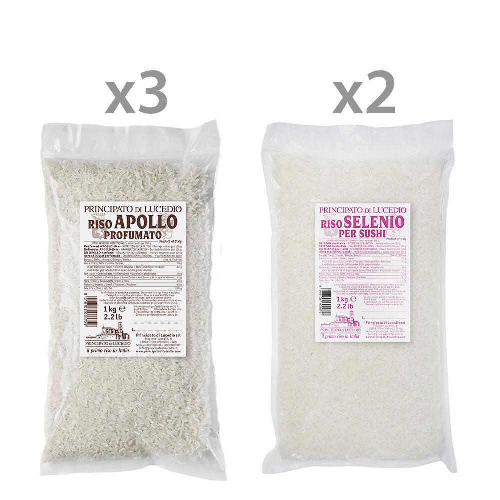Principato di Lucedio 5 confezioni miste da 1 kg: 3 Riso Apollo Profumato - 2 Riso Selenio per Sushi