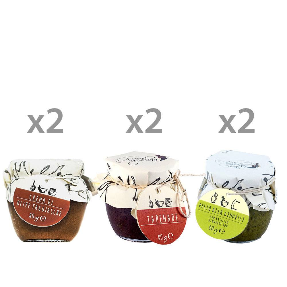"""La Bella Angiolina """"Mix Creme"""": Olive Taggiasche 80 gr - Tapenade 80 gr - Pesto alla Genovese 80 gr"""