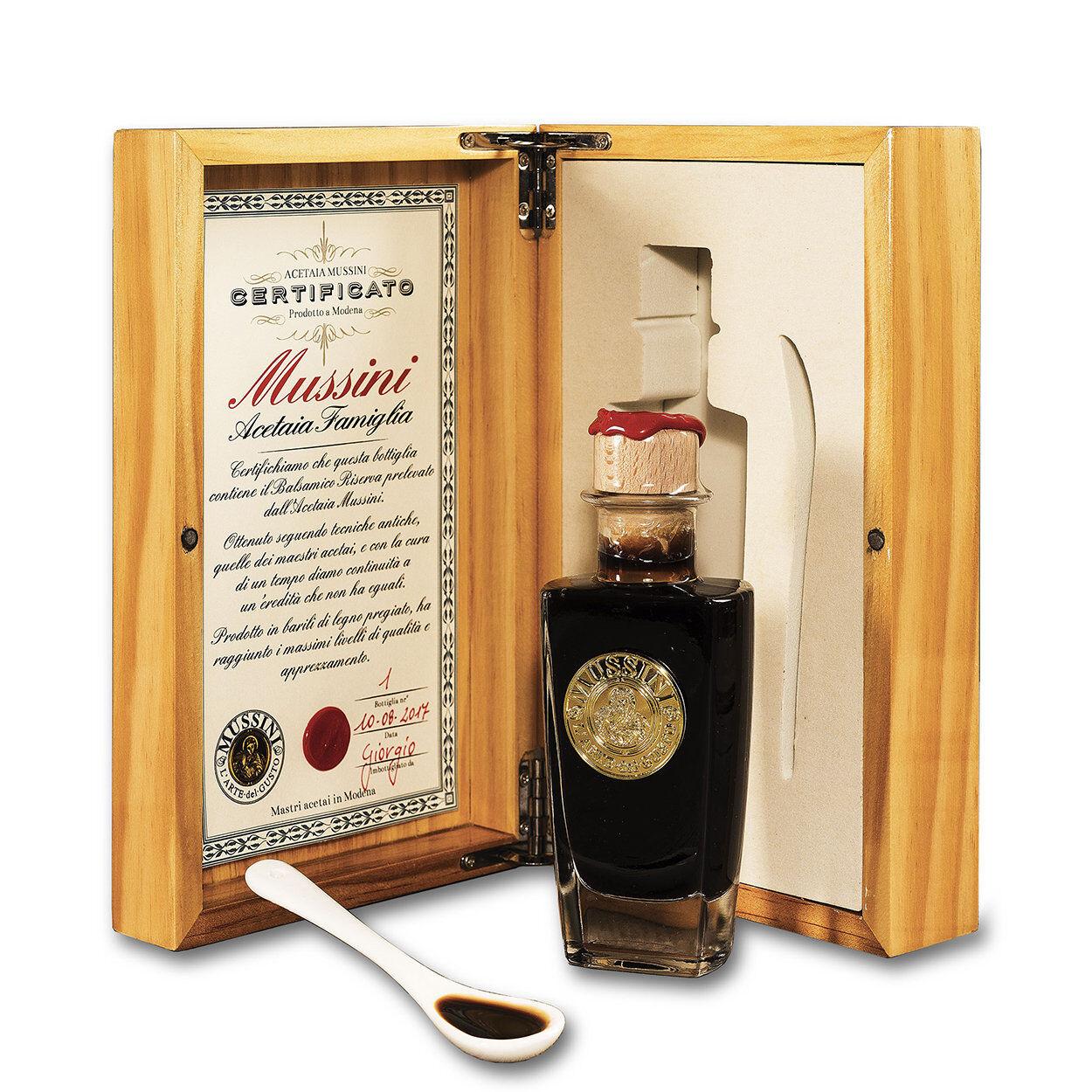 Mussini 1 confezione in legno - Condimento Nobile Acetaia di famiglia Mussini Pregiato