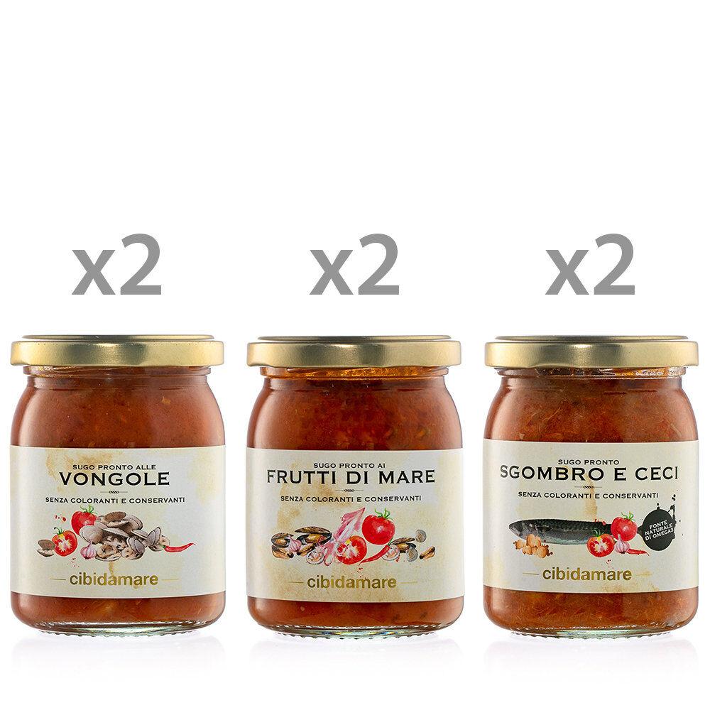 Cibidamare 6 vasetti 195 gr: 2 Sugo alle Vongole - 2 Sugo Frutti di Mare - 2 Sugo Sgombro e Ceci
