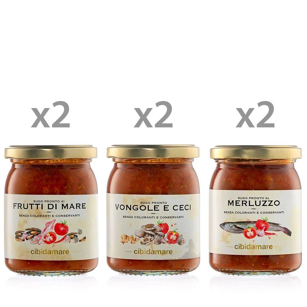 Cibidamare 6 vasetti 195 gr: 2 Sugo ai Frutti di mare - 2 Sugo Vongole e Ceci - 2 Sugo al Merluzzo