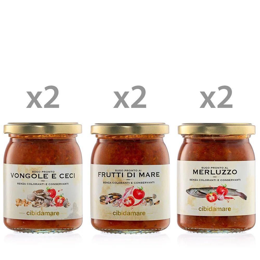 Cibidamare 6 vasetti 195 gr: 2 Sugo Vongole e Ceci - 2 Sugo ai Frutti di mare - 2 Sugo al Merluzzo