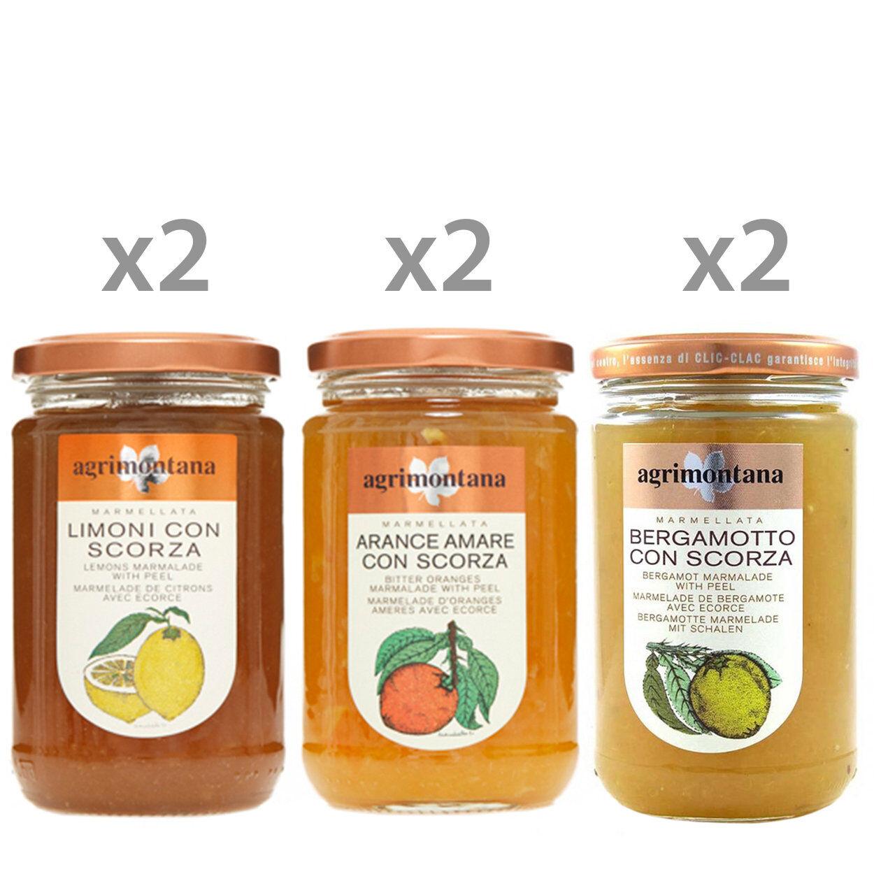Agrimontana Box Marmellate da 350 gr: 2 Limoni - 2 Arance Amare - 2 Bergamotto + in OMAGGIO 1 Miele di Melata 400 gr