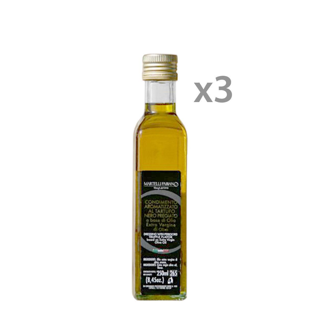 Martelli Fabiano Tartufi 3 bottiglie - Condimento aromatizzato al Tartufo Nero Pregiato 250 ml