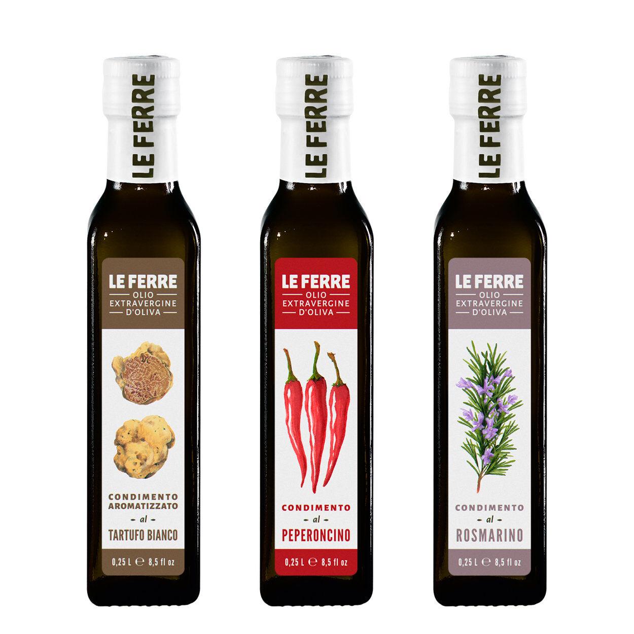 Le Ferre 3 bottiglie - Condimento aromatizzato 0,25 lt: Tartufo Bianco - Peperoncino - Rosmarino