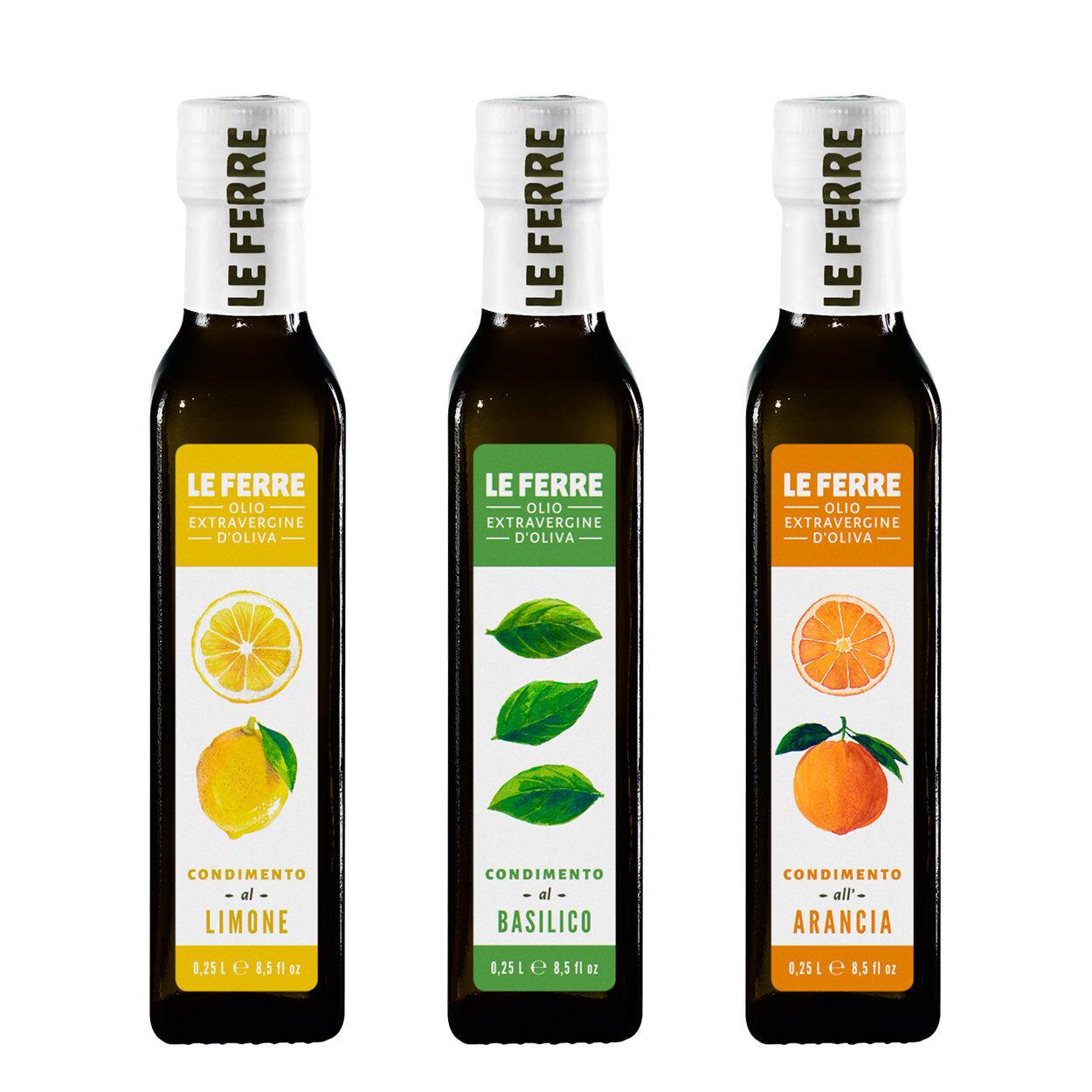 Le Ferre 3 bottiglie - Condimento aromatizzato 0,25 lt: Limone - Basilico - Arancia