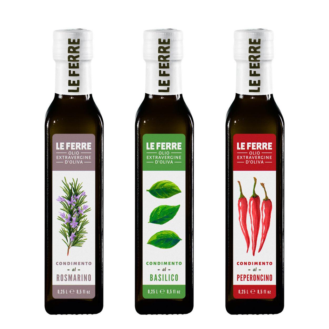 Le Ferre 3 bottiglie - Condimento aromatizzato 0,25 lt: Rosmarino - Basilico - Peperoncino