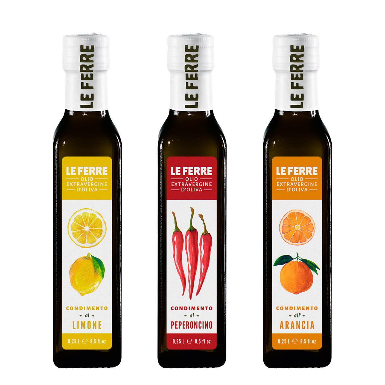 Le Ferre 3 bottiglie - Condimento aromatizzato 0,25 lt: Limone - Peperoncino - Arancia