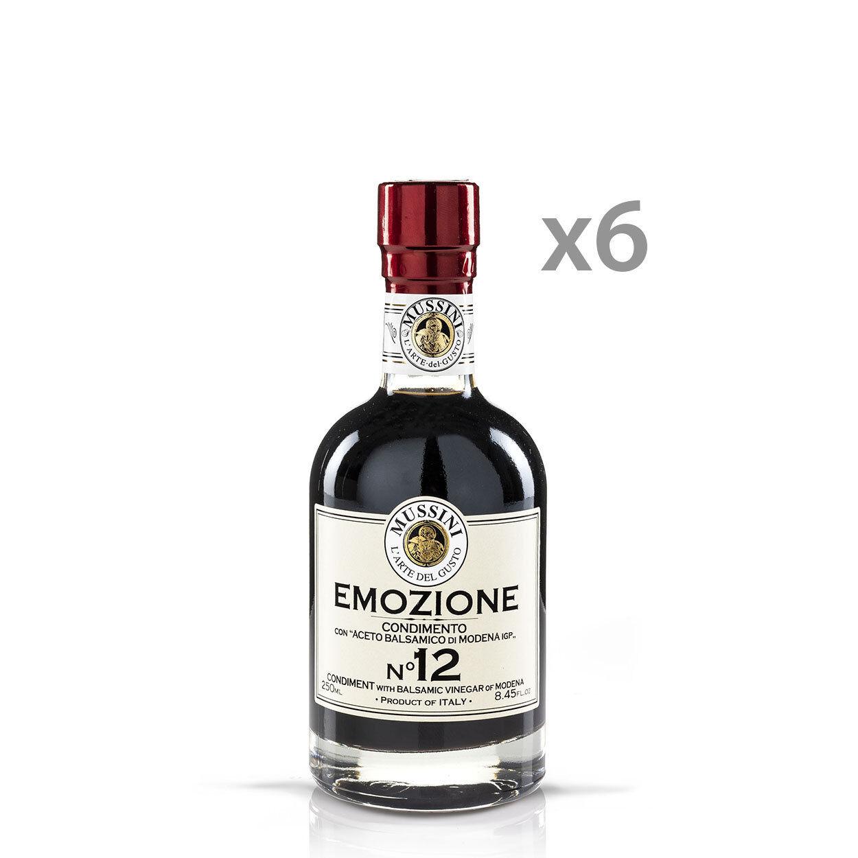 """Mussini 6 bottiglie - Condimento """"Nero Emozione N°12"""" con Aceto Balsamico di Modena IGP 250 ml"""