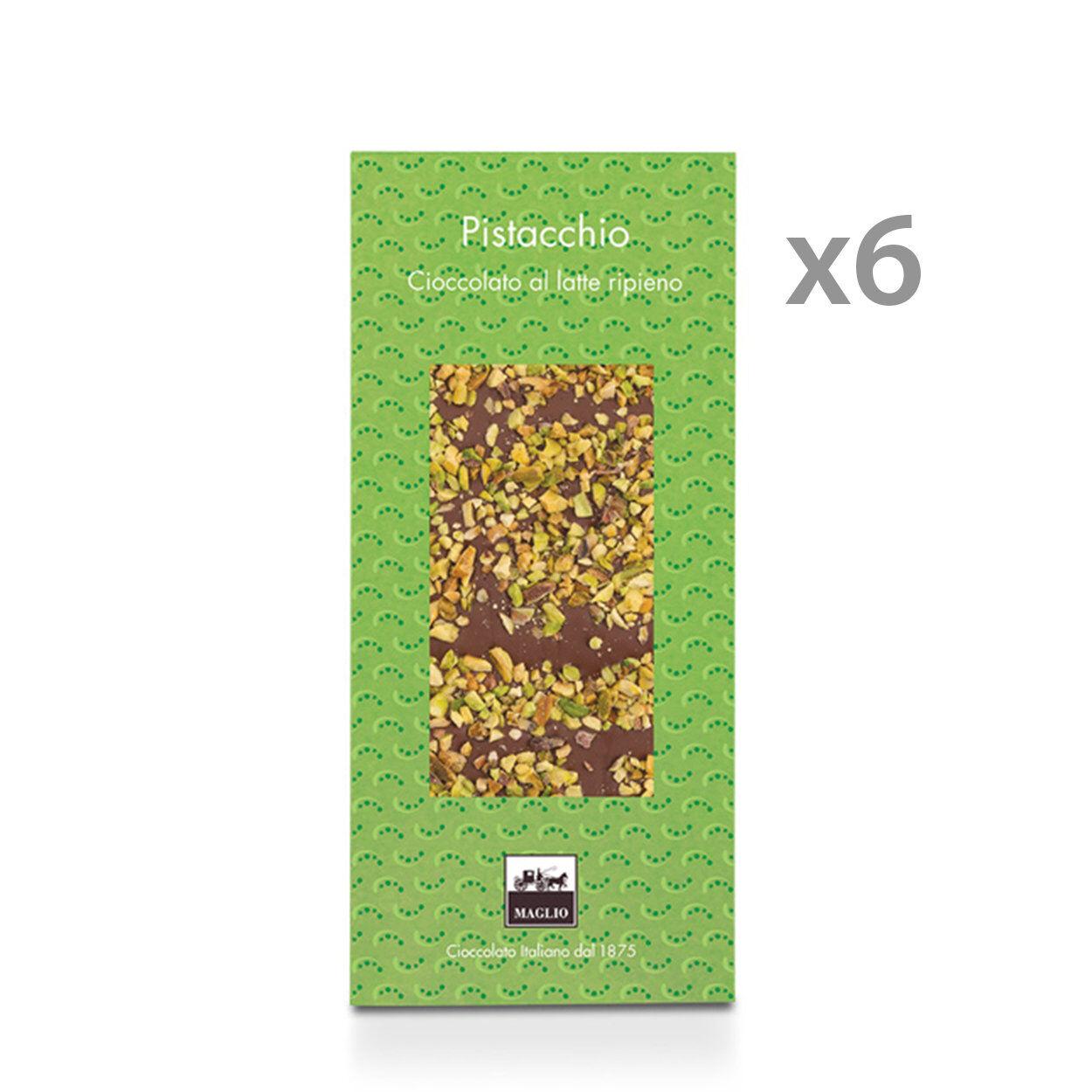 Maglio Arte Dolciaria 6 tavolette - Cioccolato al Latte con ripieno e granella di Pistacchi 95 gr