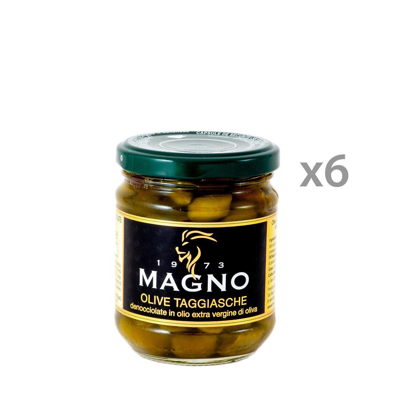 Magno 6 barattoli - Olive Taggiasche denocciolate in olio EVO 212 gr