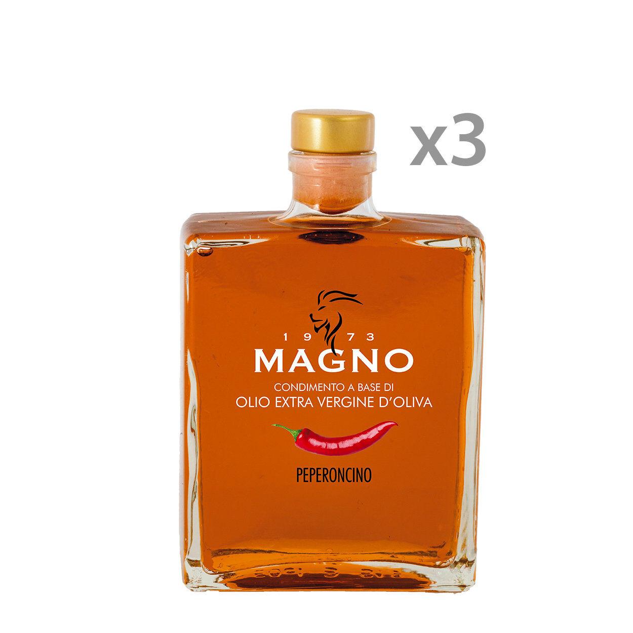 Magno 3 bottiglie - Condimento a Base di Olio EVO al Peperoncino 50 cl