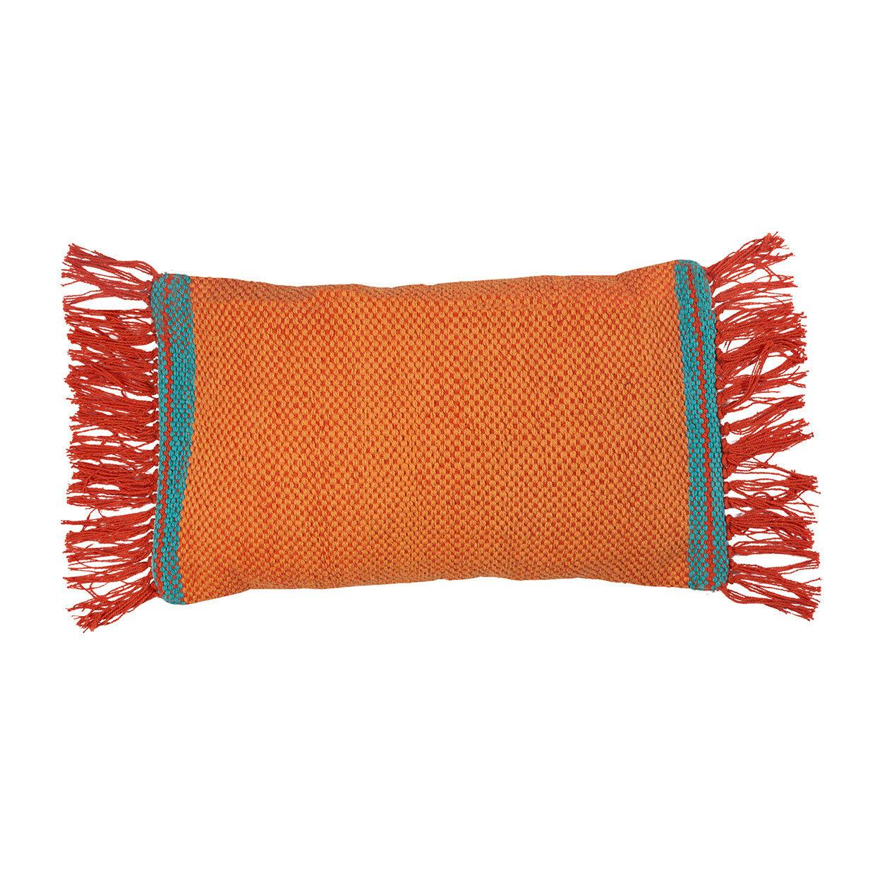 novità home cuscino rettangolare con frange 30x60, arancione