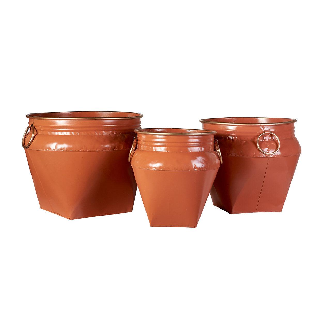 novità home natural style set da 3 cache pot con maniglie oro in metallo arancione