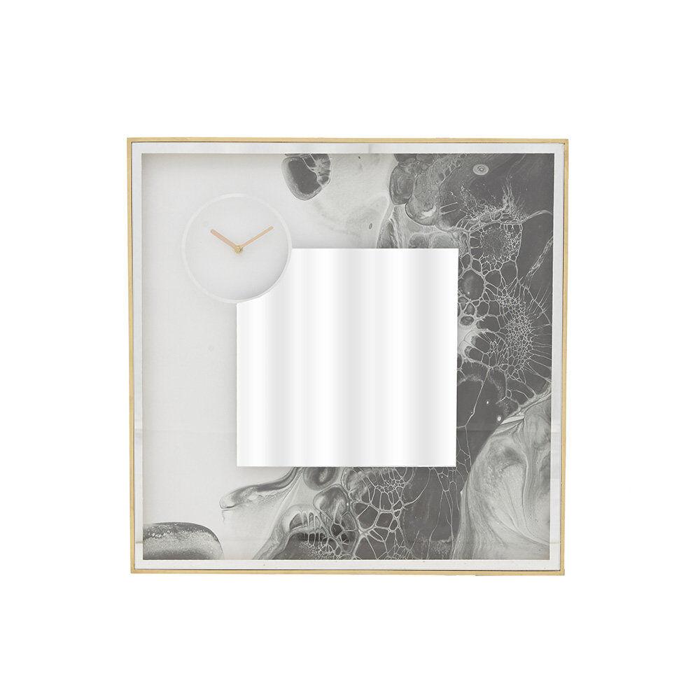 Stile Glam & Chic Orologio da parete, specchio con efetto marmo