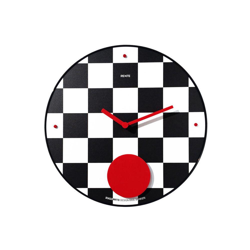 Rexite Orologio a pendolo da parete APPUNTAMENTO SCACCOMATTO, bianco/nero