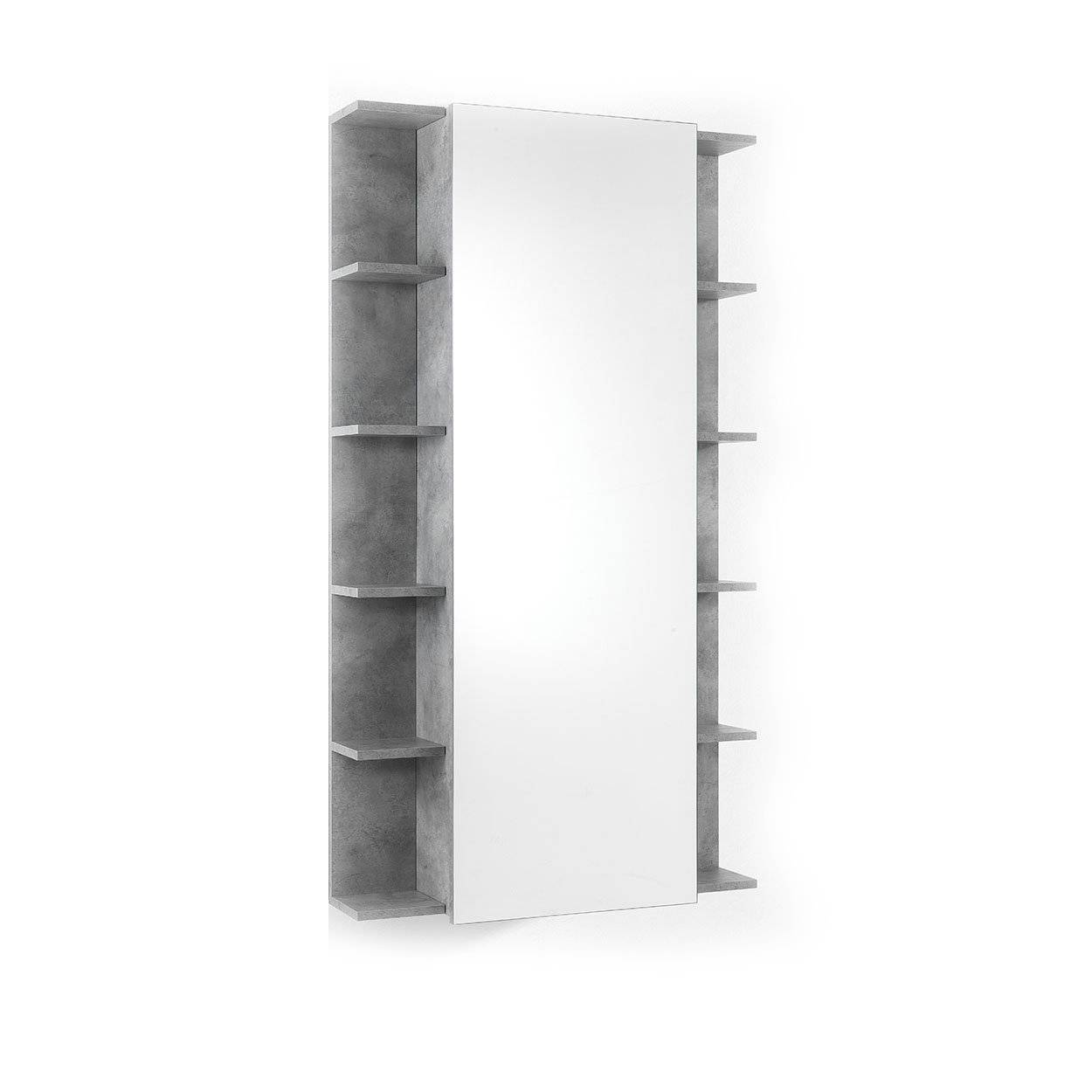 Una casa minimal chic Scarpiera/Scaffale con specchio EFFE cemento