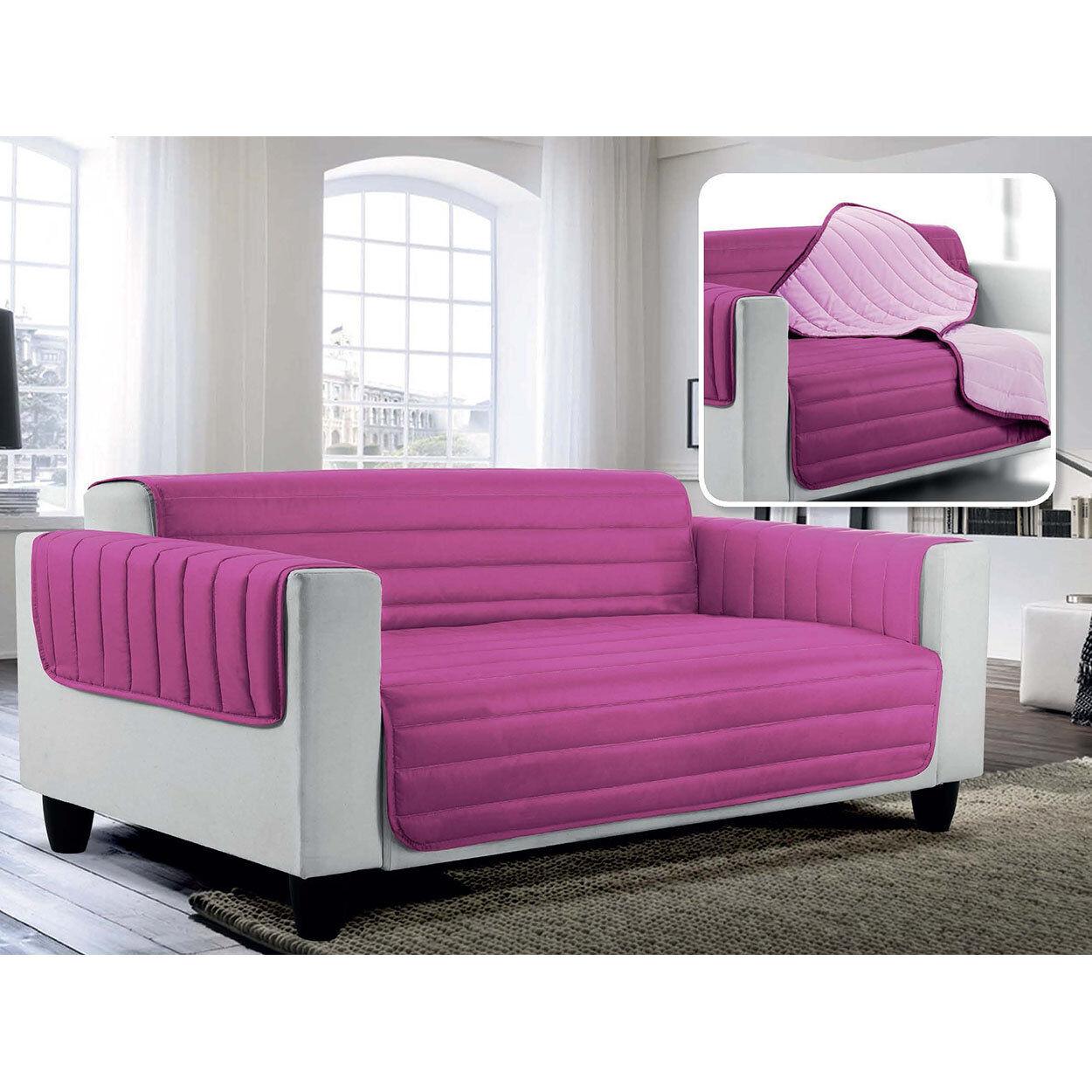 Arreda il tuo divano Copridivano trapuntato in microfibra anallergica doubleface ELEGANT, lilla/fucsia
