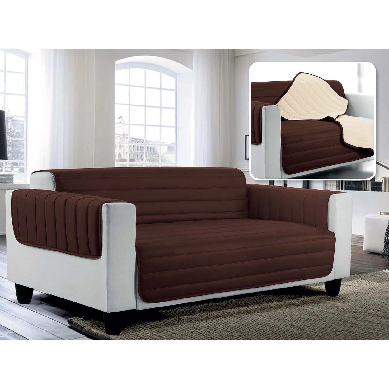 Arreda il tuo divano Copridivano trapuntato in microfibra anallergica doubleface ELEGANT, marrone/panna