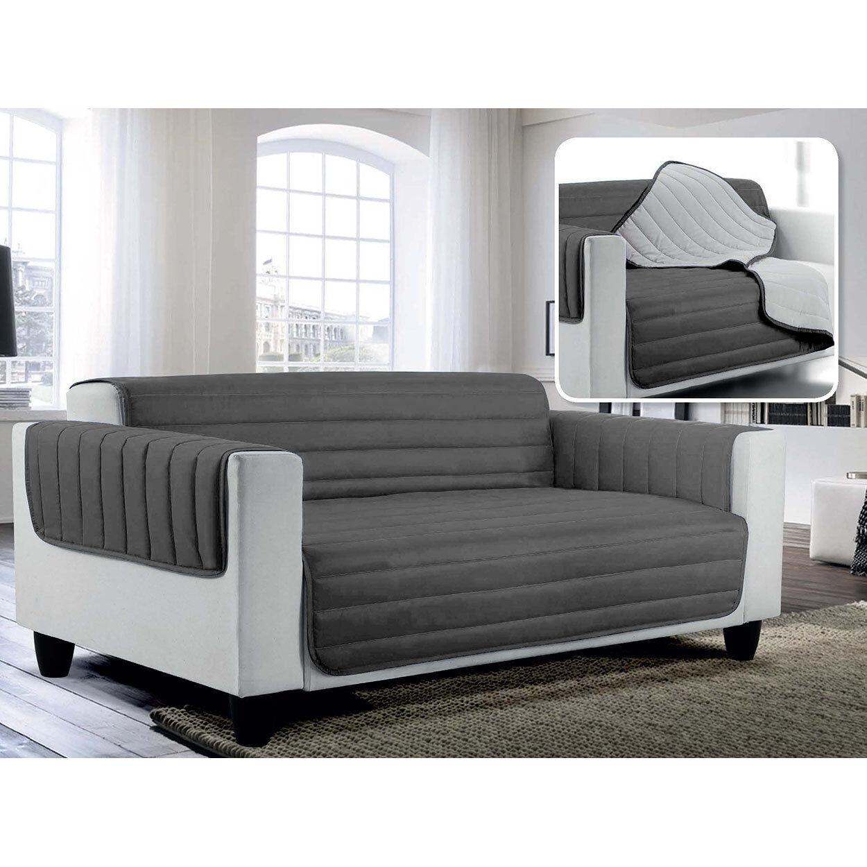 Arreda il tuo divano Copridivano trapuntato in microfibra anallergica doubleface ELEGANT, grigio chiaro / grigio scuro
