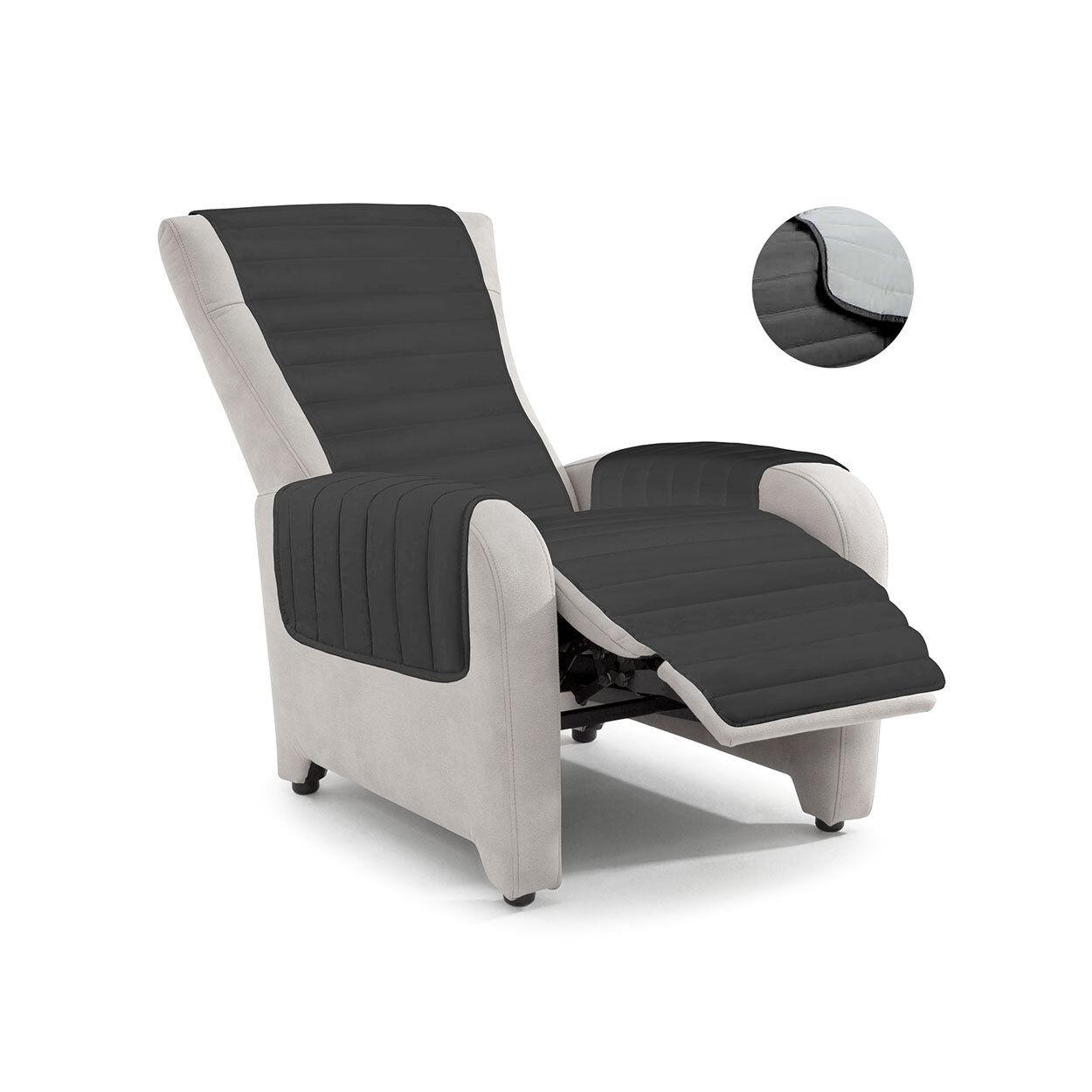 Datex Copridivani Copripoltrona trapuntato reclinabile ELEGANT grigio chiaro / grigio scuro